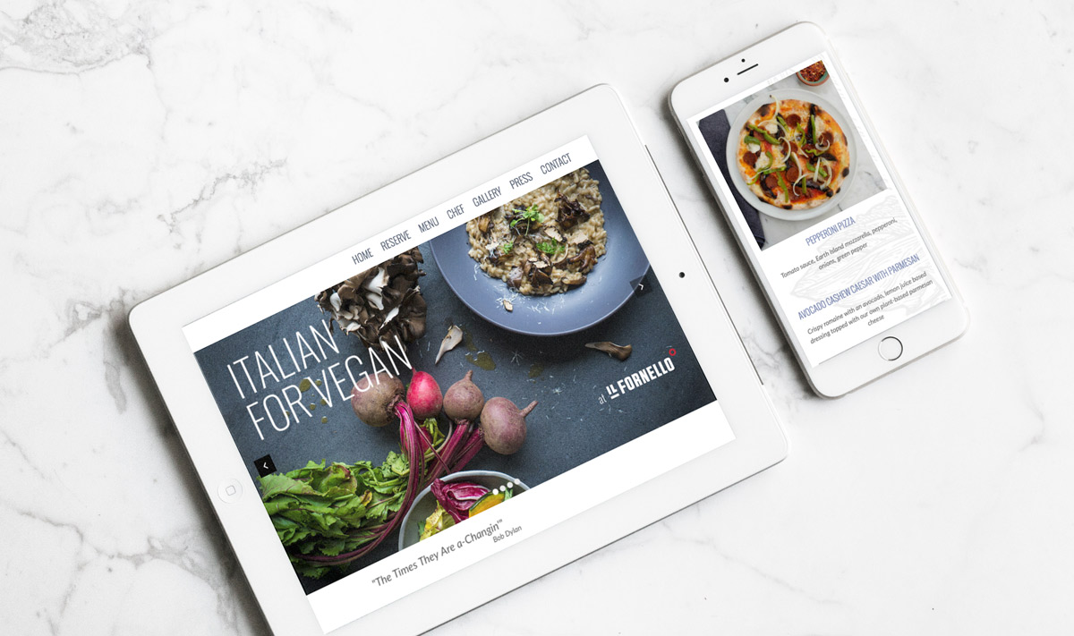 Italian for Vegan website tablet